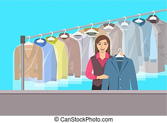 sec, magasin, jeune fille, nettoyage, réception