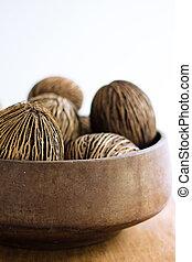 sec, maison, noix coco, décor