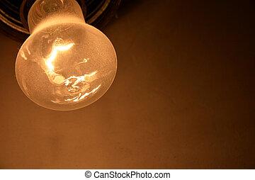 sec, mur, lampe, fond