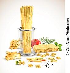 sec, réaliste, affiche, herbes, pâtes, assortiment