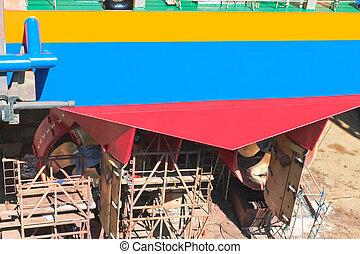 sec, réparation, chantier naval, bateau, dock