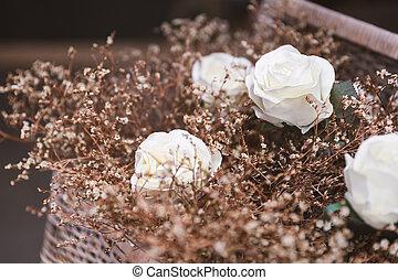 sec, rose, blanc, herbe, artificiel