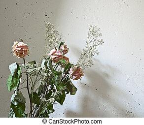sec, rose, bouquet, nature morte