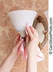 sec, salle, main, tissu, lustre, nettoyage, femme, microfiber