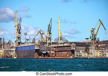 sec, sous-marin, bateau, dock