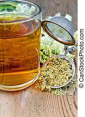 sec, thé, meadowsweet, grande tasse, herbier, passoire