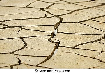 seca, rachar, chão