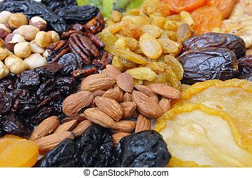 secado, nueces, y, fruits, colección