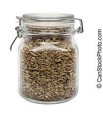 secado, orégano, hojas, en, un, vidrio, lata