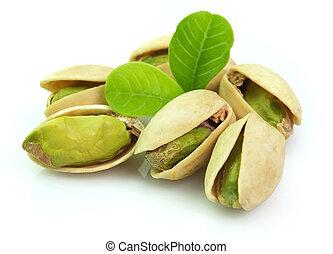 secado, pistacho, con, hojas