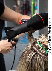secador de pelo, secado, barbería