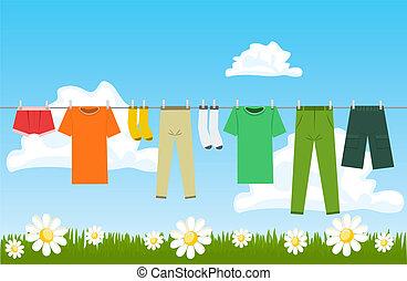 secar, ao ar livre, ilustração, roupas