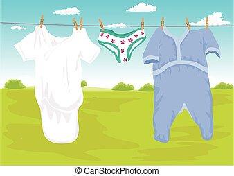 secar, ao ar livre, jardim, roupas