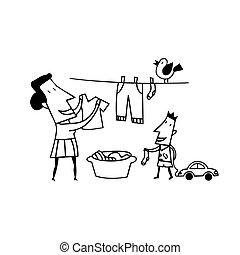 secar, caricatura, roupas