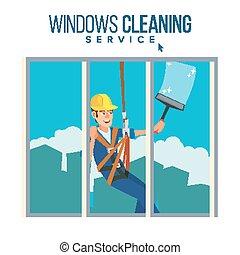 seccatoio, carattere, lavoratore, spray., illustrazione, alto, pulizia finestra, vector., rondella, uomo, cartone animato, costruzione.