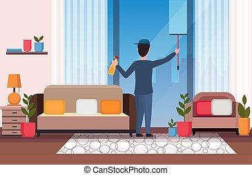 seccatoio, pulitore, concetto, vita moderna, servizio, plastica, finestra, interno, raschiapolvere, appartamento, pieno, vetro, spruzzo, pulizia, usando, orizzontale, uomo, stanza, pulire, doccia, lunghezza, bottiglia, maschio, custode