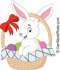 secchio, cartone animato, coniglio, seduta