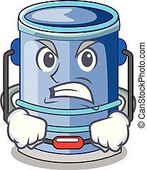 secchio, cilindro, manico, arrabbiato, cartone animato