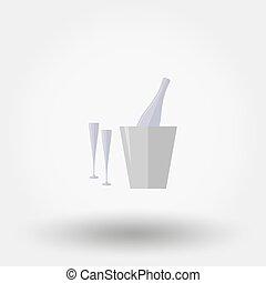 secchio, due, glasses., ghiaccio, bottiglia, icon.