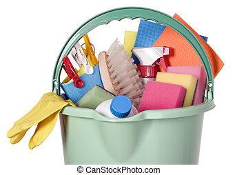 secchio, industria, attrezzi, pulizia, pieno