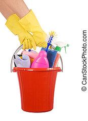 secchio, plastica, pulizia, fondo, provviste, bianco