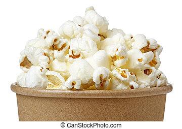 secchio, su, isolato, fondo, popcorn, chiudere, bianco