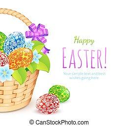 secchio, uova, fiori, pasqua