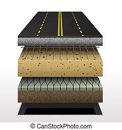 sección, camino de asfalto