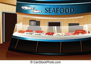 sección, mariscos, tienda de comestibles, store: