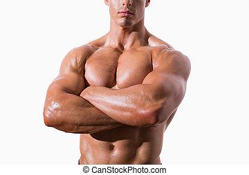 sección mediados de, de, shirtless, muscular, hombre