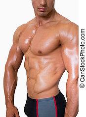 sección mediados de, de, shirtless, muscular, m
