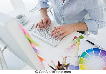 sección, medio, trabajando, redactor, foto, computadora