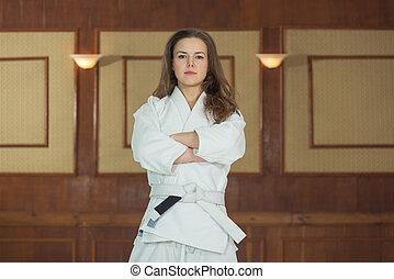 sección, mujeres,  jiu,  kimono,  jitsu, niña