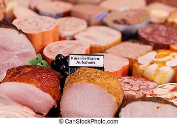 sección, refrigerado, carne, supermercado, señal
