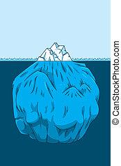 sección transversal, iceberg, caricatura