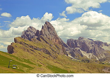 seceda, montanha, em, a, dolomites, itália