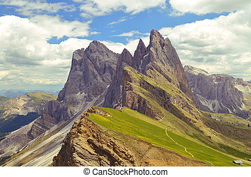 Seceda mountain in the Dolomites Italy