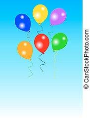 sechs, bunte, party, luftballone
