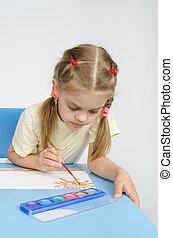 sechs, jährige, m�dchen, sitzen tisch, und, zieht, farben