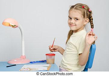 sechs, jährige, m�dchen, zieht, farben, und, wellen