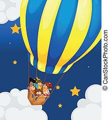 sechs, kinder, reiten, luft, balloon