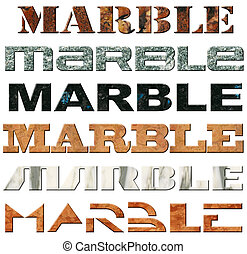 sechs, marmor, wörter
