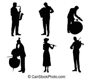 sechs, musiker, silhouetten