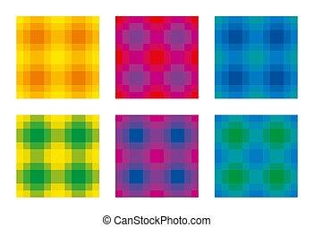 sechs, quadrat, bunte, muster, seamless, kontrollieren, fliesenmuster