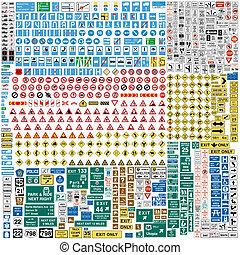 sechs, verkehr, europäische , zeichen & schilder, hundert,...