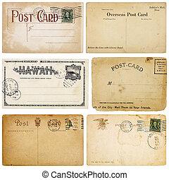 sechs, weinlese, postkarten