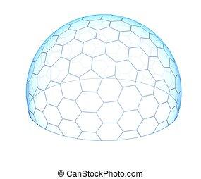 sechseckig, durchsichtig, kuppel
