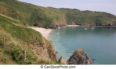 Secluded beach Lantic Bay Cornwall