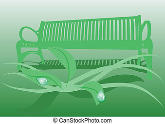 secluded garden with bench and leaves of plant