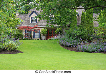 Beautiful secluded house with large front lawn.
